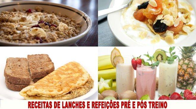 receitas de Lanches e refeicões pré e pós treino