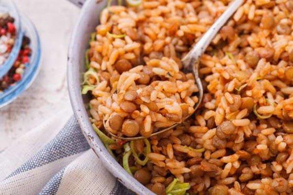 receita de lentilha com arroz