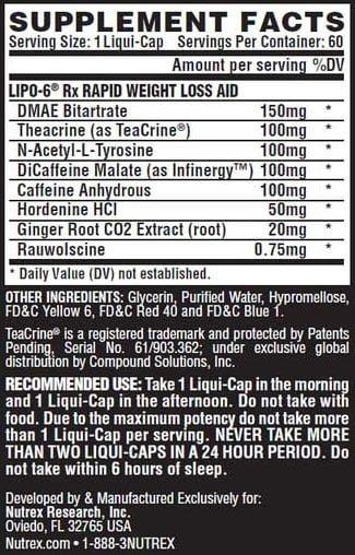 Tabela nutricional e composição do lipo 6 rx